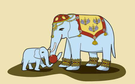 her: An Indian-style mother elephant and her baby playing with a red ball