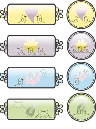 A series of four bird and plant themed rectangle and round buttons for websites  Vector