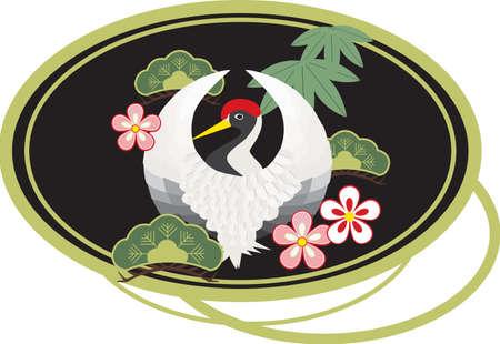 행운 매화, 소나무, 대나무 잎의 일본어 기호에 의해 둘러싸여 흰색 일본식 크레인