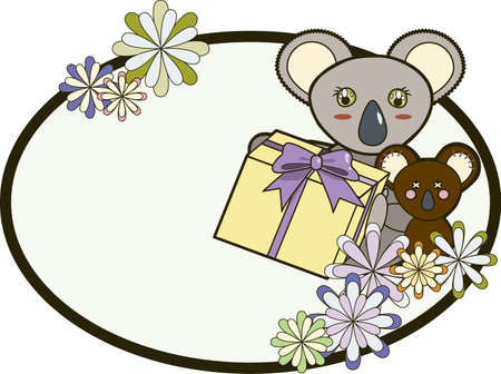 A cute koala holding a present with a ribbon sitting next to a toy koala, both behind colorful flowers within an oval frame  Vector