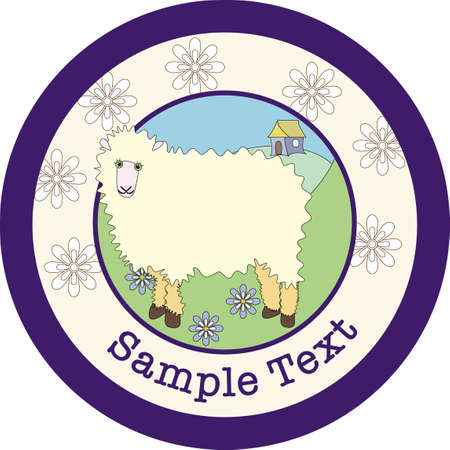 A fluffy white sheep standing in a green field within a circular design containing sample text space and flowers