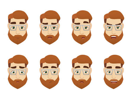 Young man face expression set