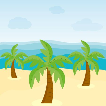 Tropical background with sea, sand and palm trees. Sea or ocean view from the beach. An island in the ocean with a palm trees. Flat style vector illustration.