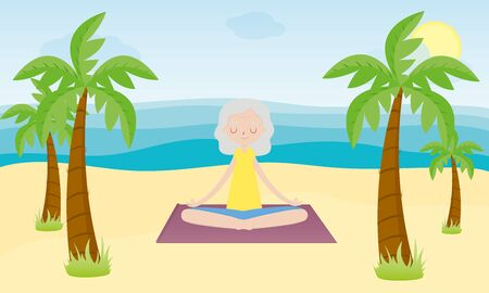 Yoga on the beach. Elderly woman in the Lotus position on the beach with palm. Yoga class. Woman doing yoga on the coast. Healthy lifestyle. Flat cartoon style vector illustration.