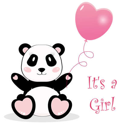 Cute panda bear girl with ball. It's a girl. Vector cartoon illustration.