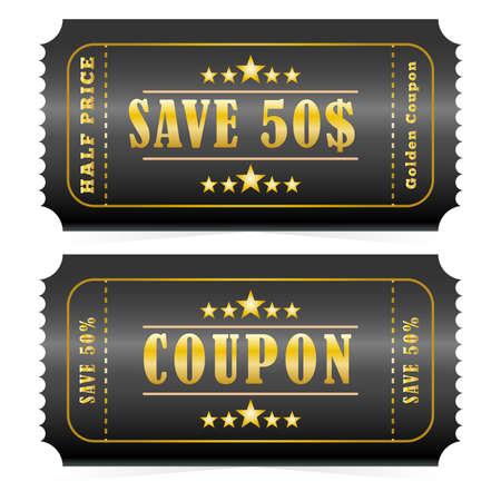 Gold coupons. Discount Coupon, Voucher.