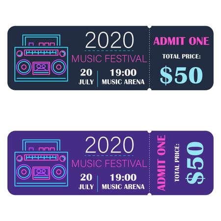 Music festival ticket. Neon Style.