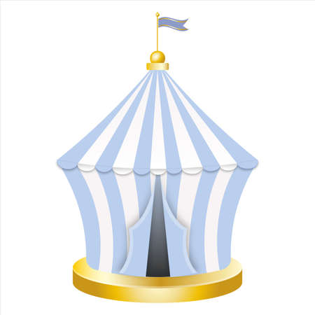 Carnival circus blue tent. Retro Circus tent with flag.