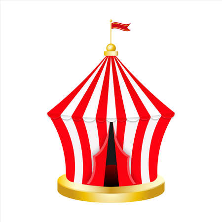 Carnival circus red tent. Retro Circus tent with flag. Vector illustration isolated on white background. Vector Illustratie