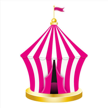 Carnival circus pink tent. Retro Circus tent with flag. Vector illustration isolated on white background. Vektorové ilustrace