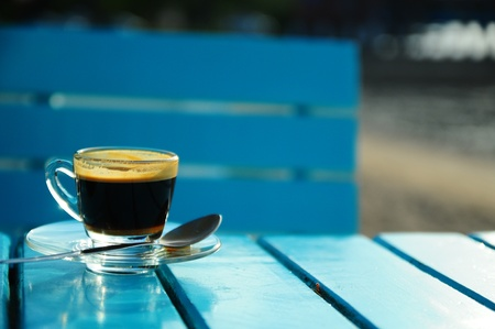 espresso in blue Stock Photo - 15628703