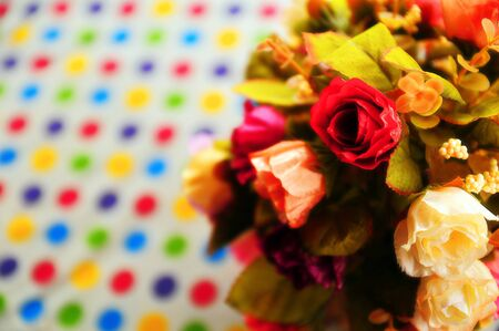 Artificial rose with dot pattern Tablecloth