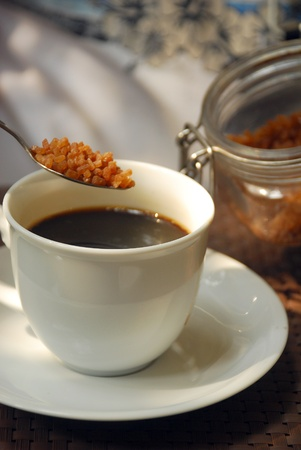 Black coffee with Granulated sugar in the morning