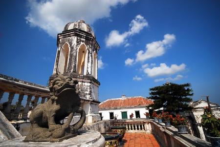 China Lion and European Tower at khao wang, historical park in Phetchaburi