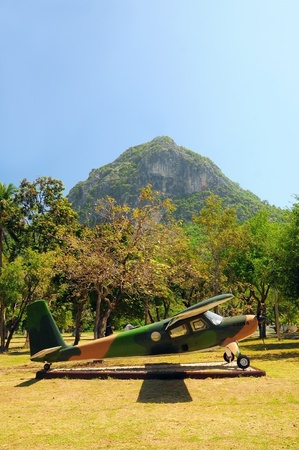 Old airplane anchor before the mountain