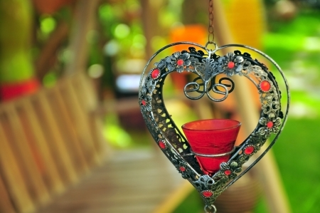 Heart candlestick hung Type Stock Photo