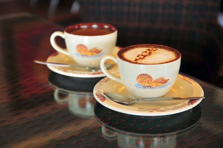 mocha and latte coffee on a rattan table Stock Photo - 16228150