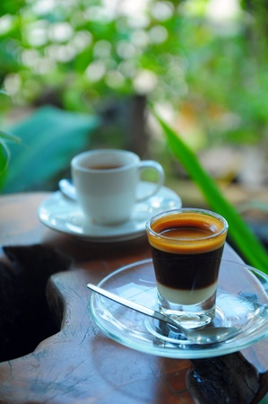 black coffee with Sweetened condensed milk Stock Photo - 16964994