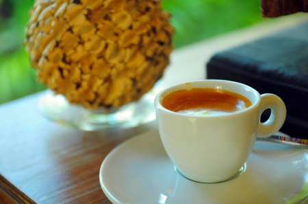 White cup of Espresso coffee on a desk Stock Photo - 16228200