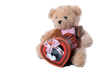 teddy bear and red heart box Stock Photo