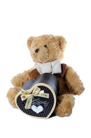 brown teddy bear and brown heart box Stock Photo - 17170228