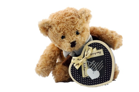 brown teddy bear and brown heart box Stock Photo - 17170240