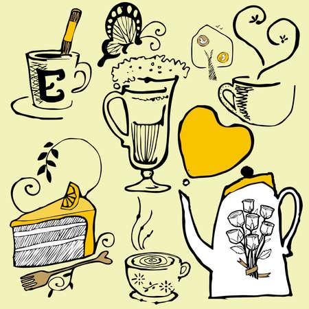 snug: coffee cake set sketch vector
