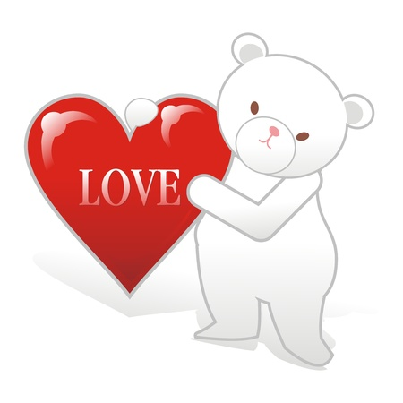 snug: polar bear with heart and love