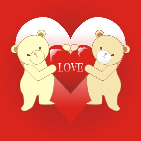 two teddy bear with heart and love Stock Vector - 17308097