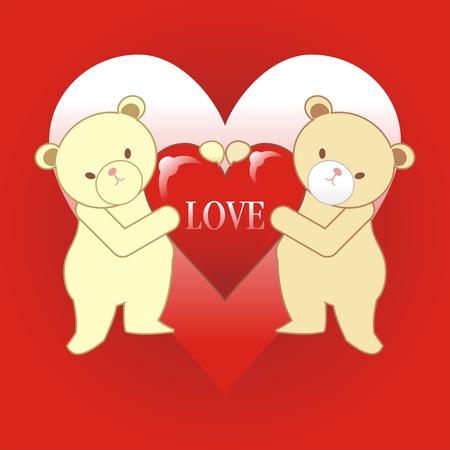 snug: two teddy bear with heart and love