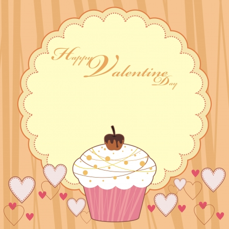 HAPPY VALENTINE DAY CUP CAKE Stock Vector - 17308115