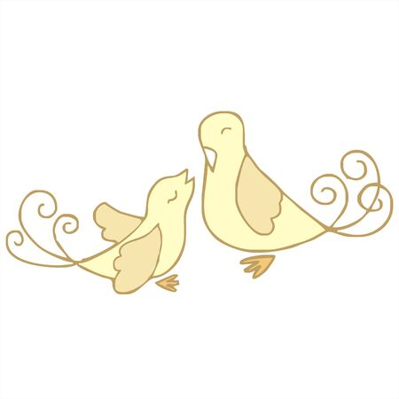 tuneful: couple bird love cartoon vector Illustration