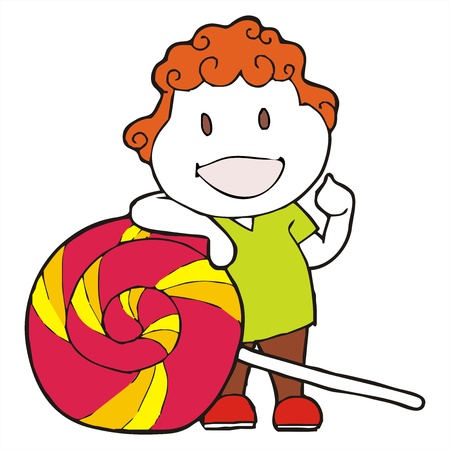 chap: curly haired boy cartoon candy vector  Illustration