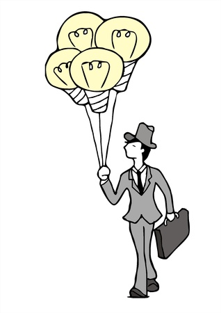 transcendence: salesman with incandescent lamp Balloon sketch vector Illustration