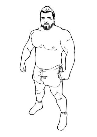 bajo y fornido: Hombre fornido vector boceto