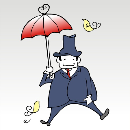 business man dancing with umbrella Stock Vector - 19904402