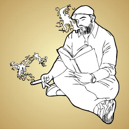 beefy:  Man reading a book and smoking  Illustration