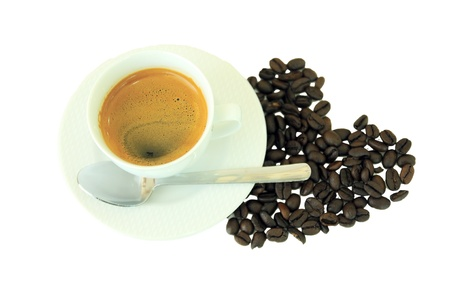 love coffee cup and Coffee beans heart  shape photo