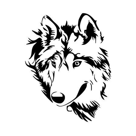 animali: testa di lupo schizzo Vettoriali