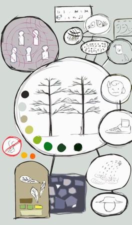 Idea map park sketch vector