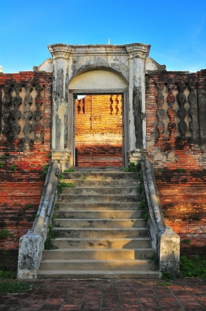 Ancient gate and stair in Ayutthaya architect  photo