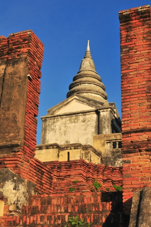 elysium: ancient tower in Ayutthaya architect   Stock Photo