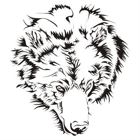 ferocious: Bear head tattoo vector