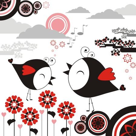 amiable: Bird cartoon sing flower graphic vector Illustration