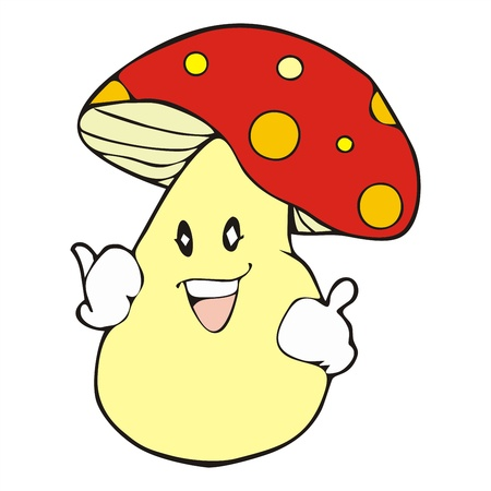 beatific: healthy mushroom mascot cartoon vector