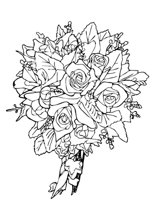 panicle: rose bouquet sketch vector