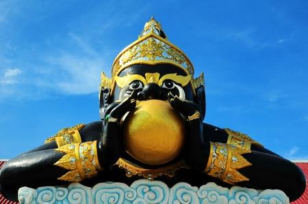 Big Rahu eat the moon sculpture in temple