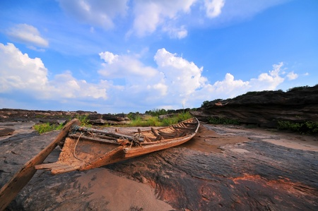 decadent: decadent rowboat in the dried river, Global warming  Stock Photo
