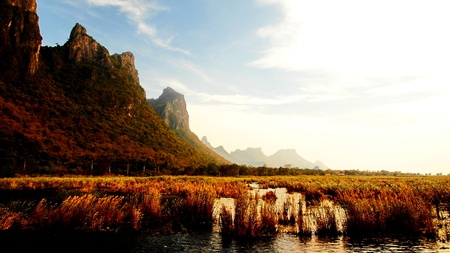 lagoon Mountain with sunny day Stock Photo
