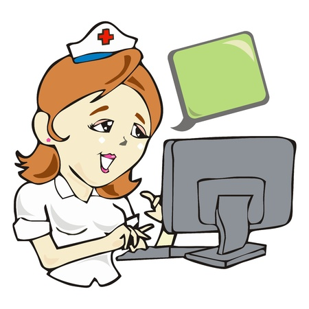 govern: nurse with tablet in computer health care network cartoon vector  Illustration